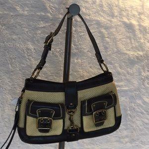 Coach tan and black woven purse